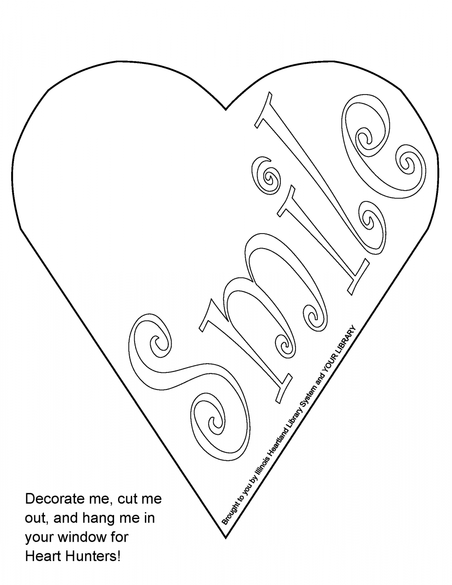 "Heart Hunt heart template: ready-to-color white heart with word ""Smile"""
