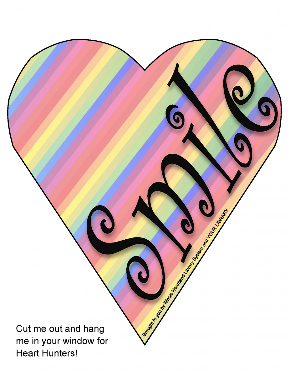 "Heart Hunt heart template: rainbow pattern heart with word ""Smile"""
