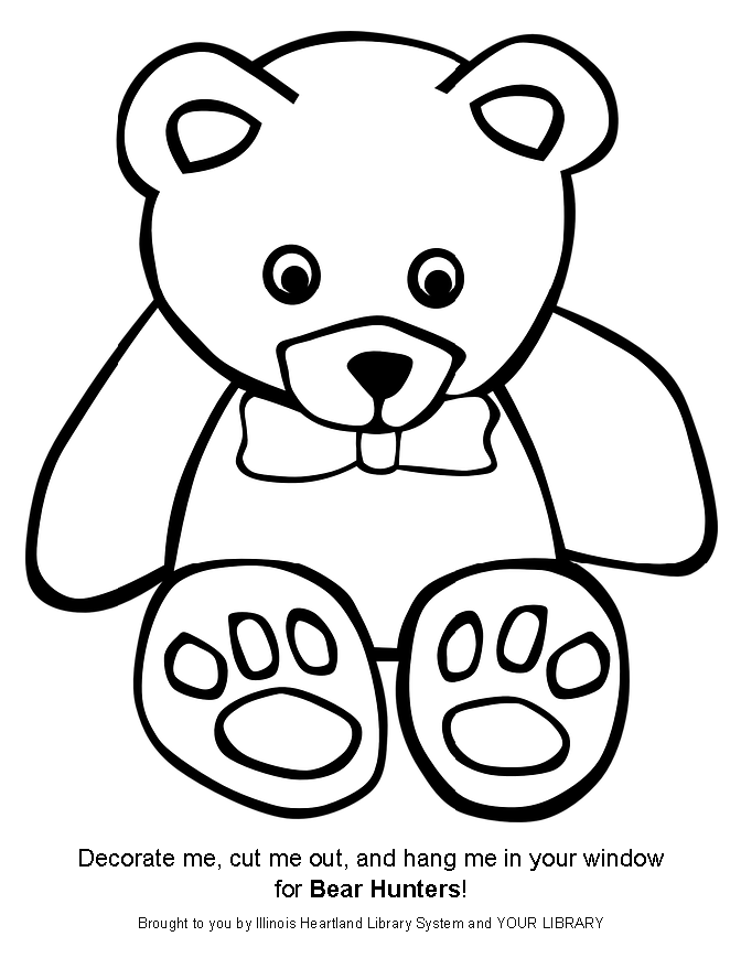 Bear Hunt bear template: ready-to-color white teddy bear