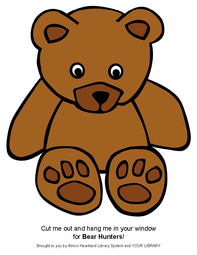 Bear Hunt bear template: ready-to-print brown teddy bear