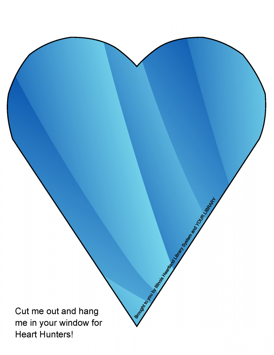 Heart Hunt heart template: blue pattern