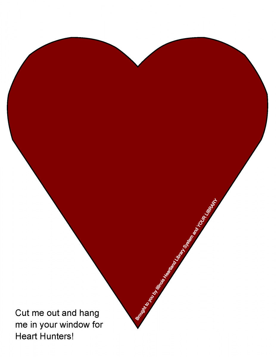 Heart Hunt heart template: solid deep red