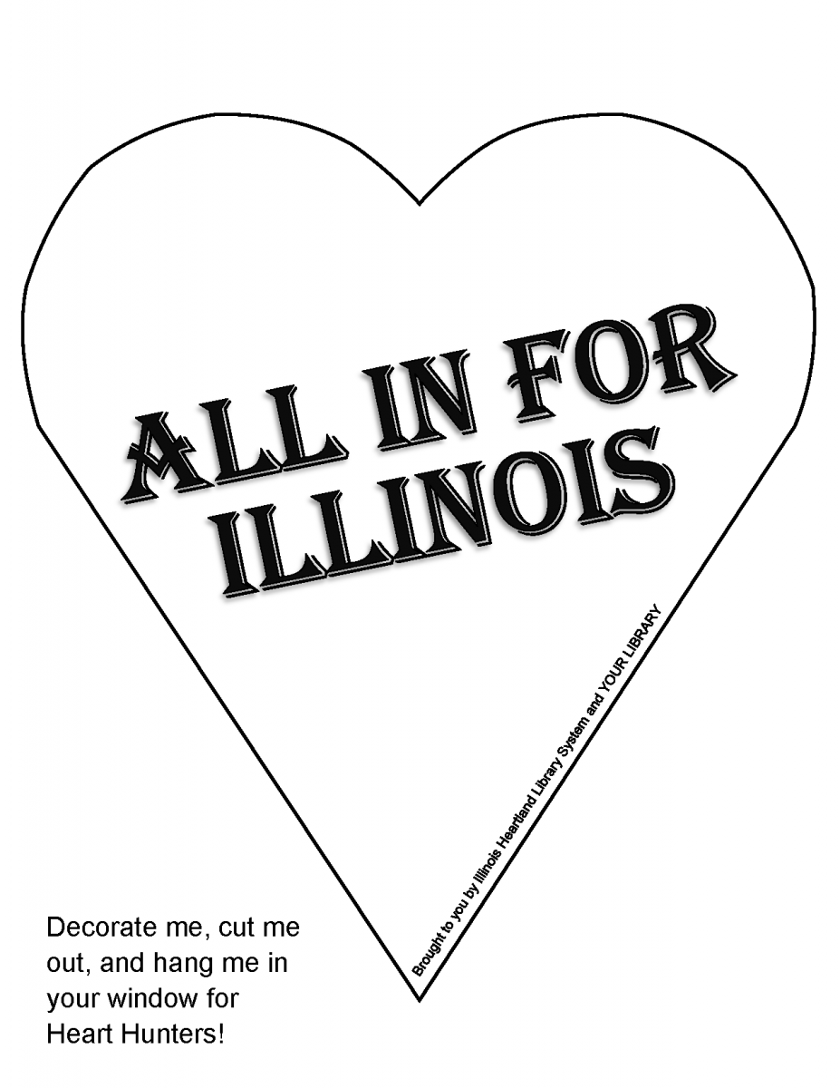 "Heart Hunt heart template: ready-to-color white heart with words ""All In for Illinois"""