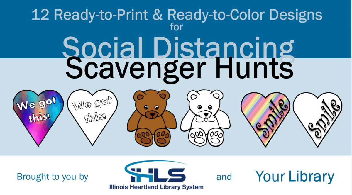 12 Ready-to-Print or Ready-to-Color Heart and Bear Designs